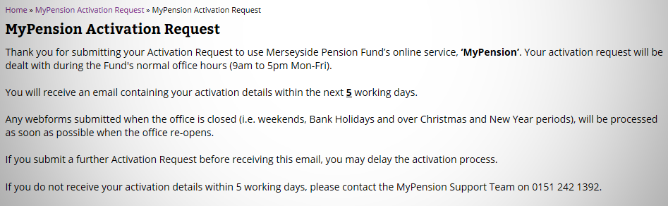 MyPension screen capture