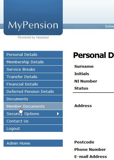 MyPension screen capture