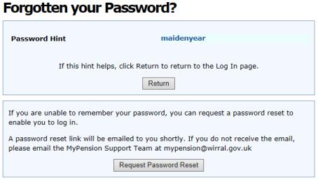 Password Hint screen capture