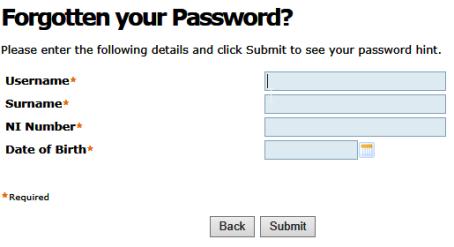Forgotten your Password screen capture