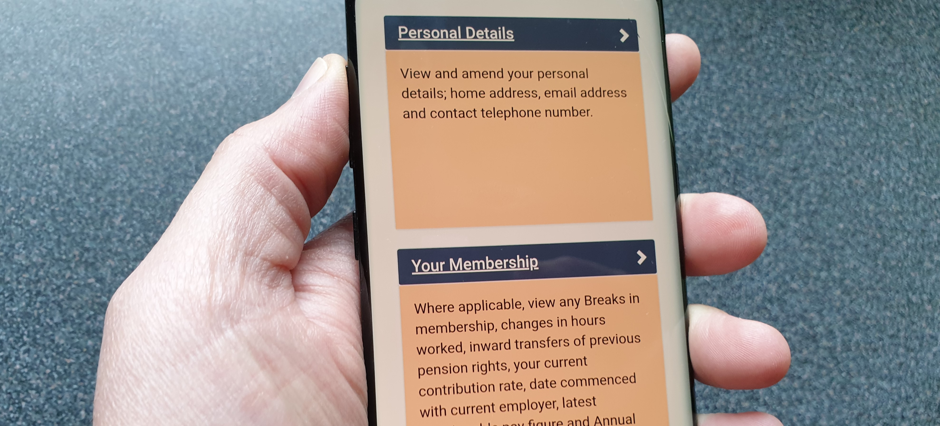 MyPension displayed on a mobile device