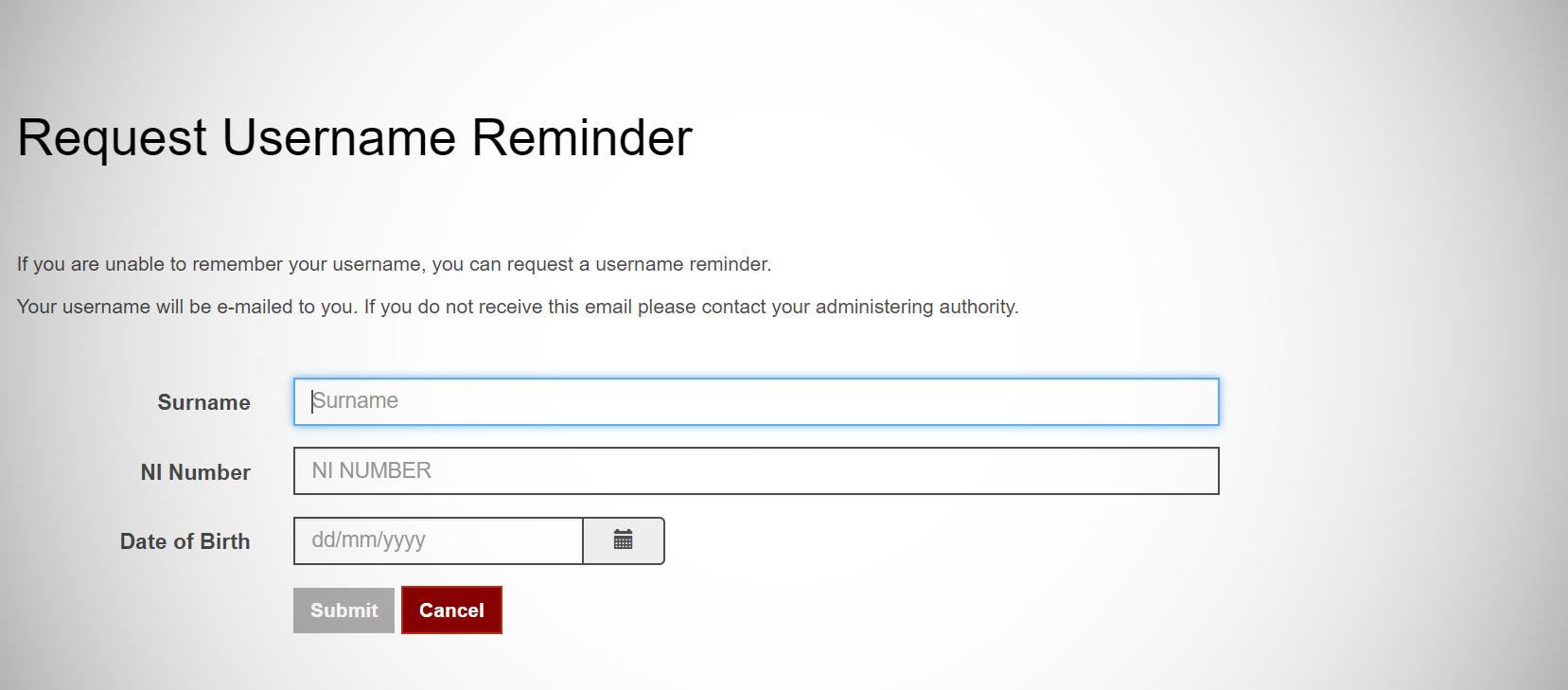 Username reminder screen capture